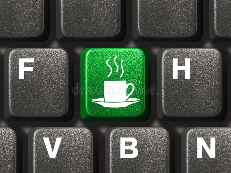 Teclado de computador com chave do café imagens de stock
