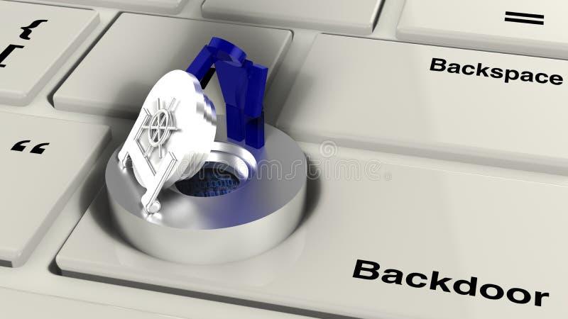 Teclado de computador com cofre-forte ilustração do vetor