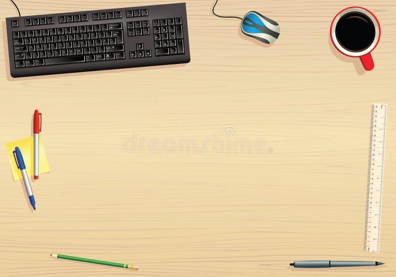 Teclado de computador e tabletop ilustração stock