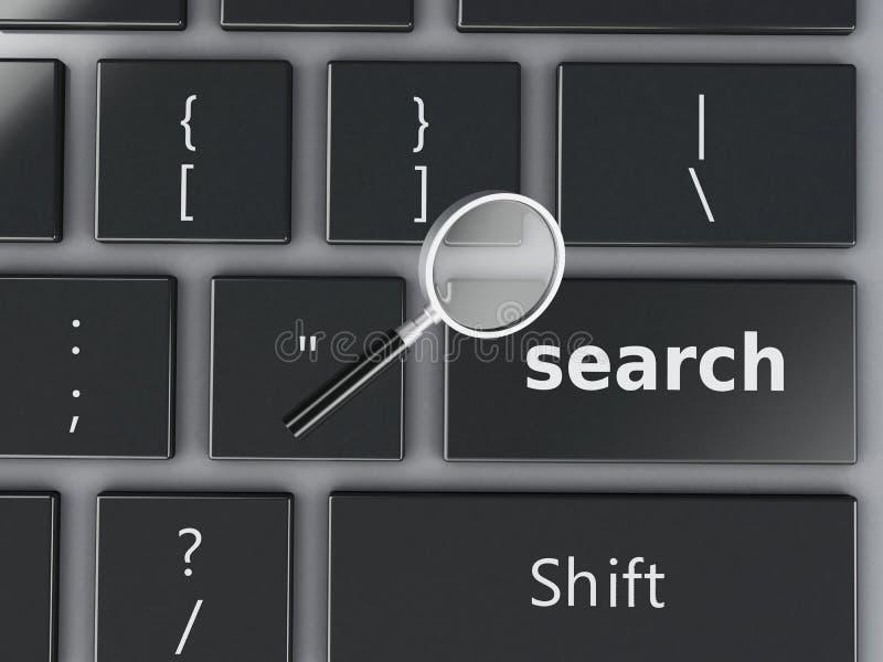 teclado de la lupa 3d y de ordenador stock de ilustración