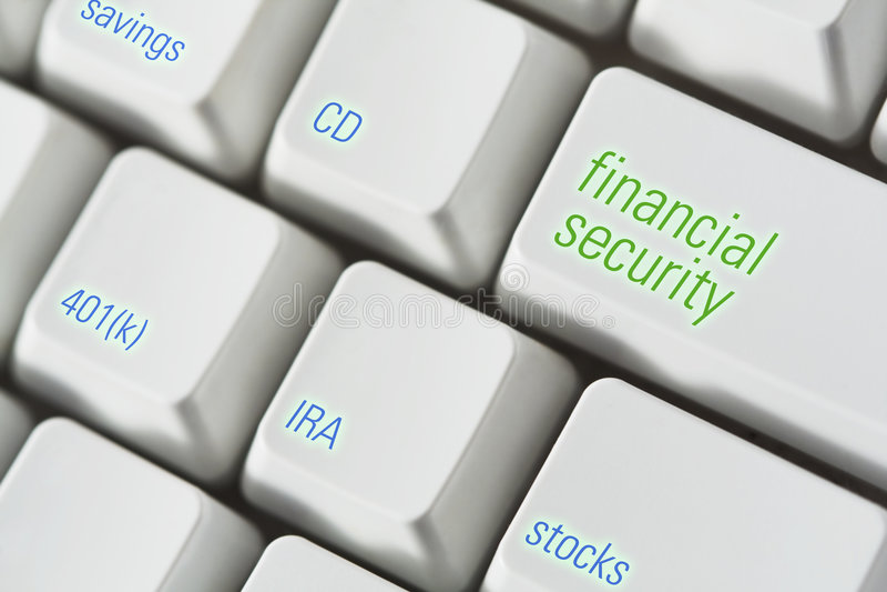 Teclado de la seguridad financiera foto de archivo libre de regalías