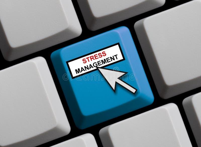 Teclado de ordenador azul que muestra la gestión del estrés libre illustration