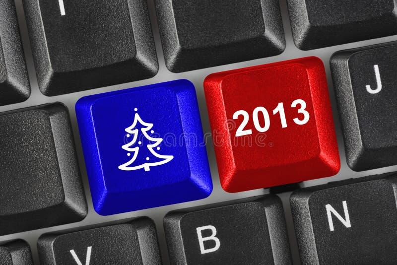 Teclado de ordenador con claves de la Navidad