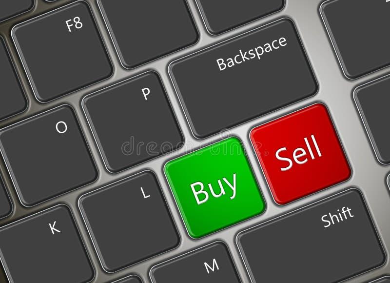 Teclado de ordenador con los botones de la compra y de la venta stock de ilustración