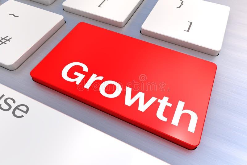 Teclado de ordenador con un concepto del botón del crecimiento libre illustration