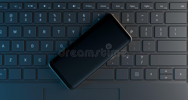 Teclado de ordenador de mirada realista con Smartphone en él ilustración del vector