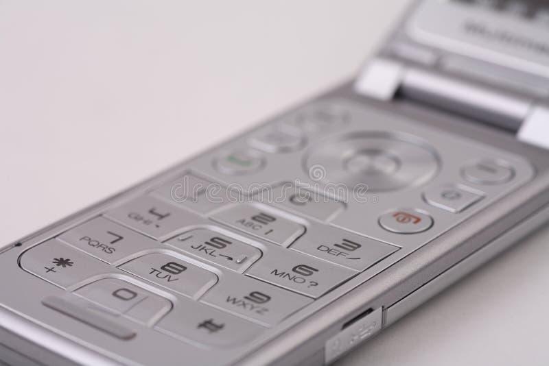Teclado de prata do telemóvel fotografia de stock royalty free