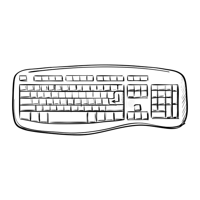 Teclado del garabato del ordenador ilustración del vector