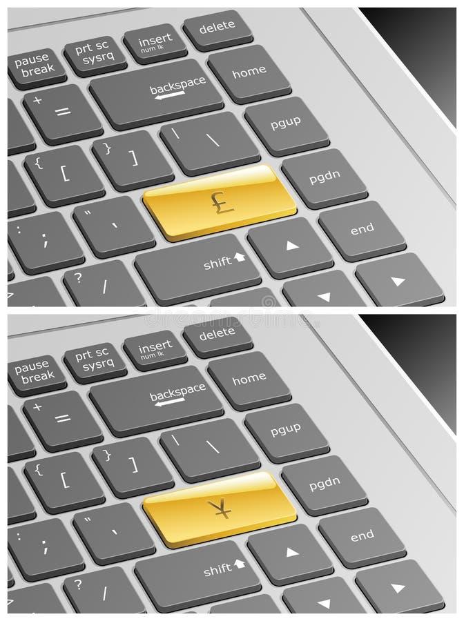 Teclado del ordenador portátil con la libra y Yen Buttons ilustración del vector