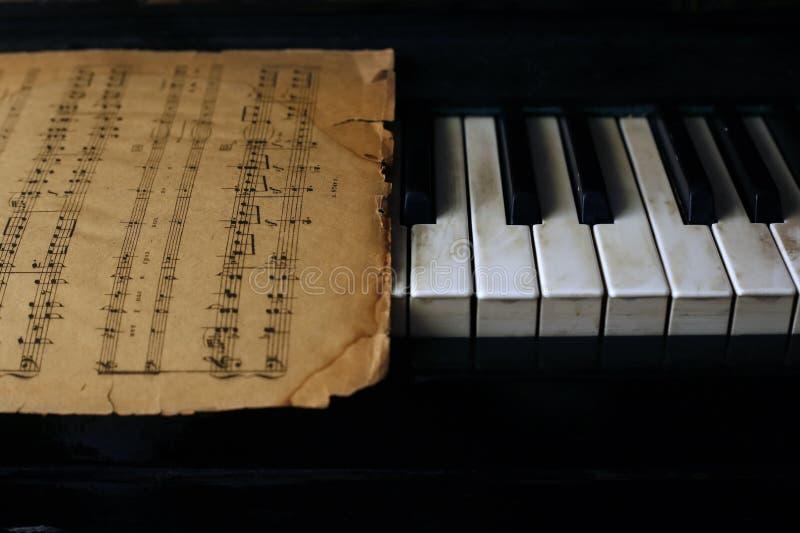 Teclado do piano e das notas velhas foto de stock