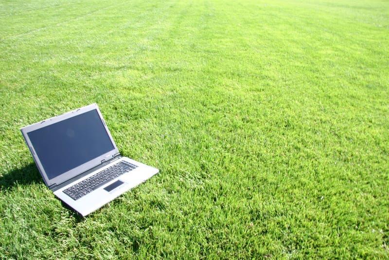 Teclado do portátil em um campo verde fotos de stock royalty free