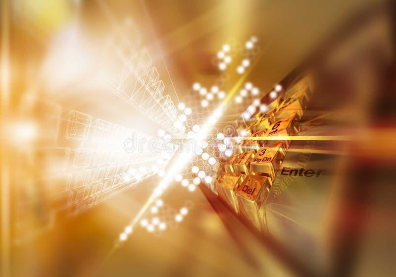 Teclado dourado do profissional 3D ilustração do vetor