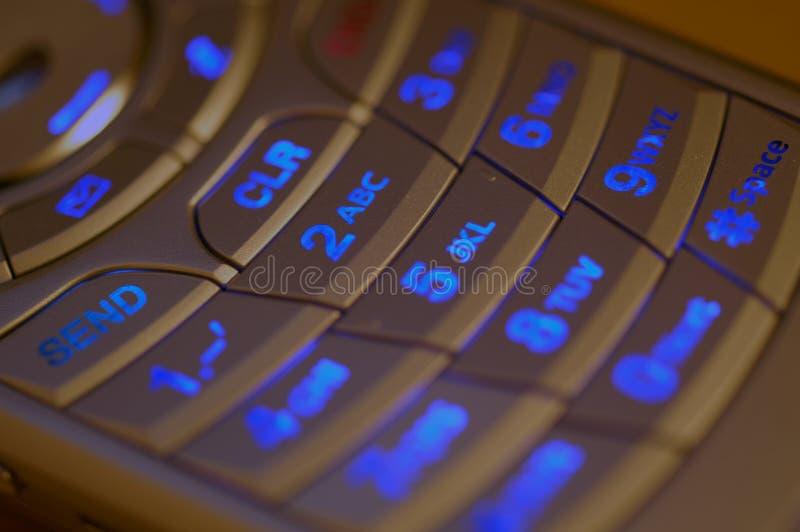 Teclado iluminado do telefone de pilha fotos de stock