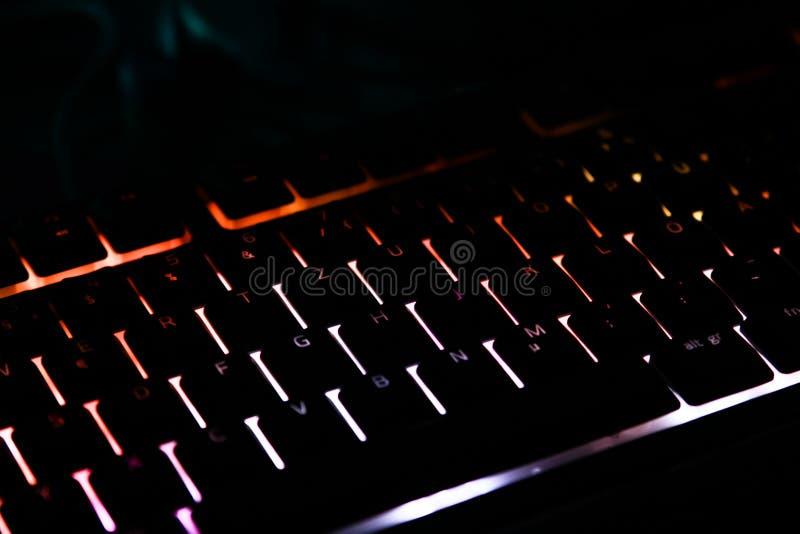 Teclado iluminado para la PC del juego fotografía de archivo