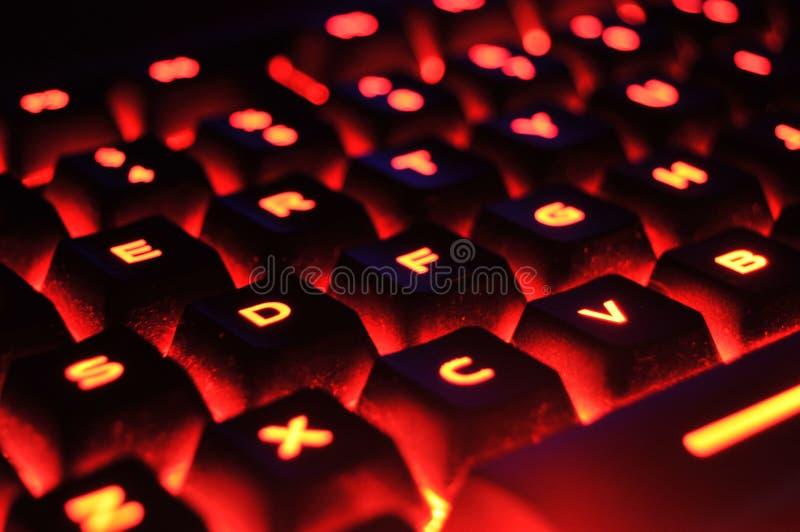 Teclado iluminado vermelho fotos de stock