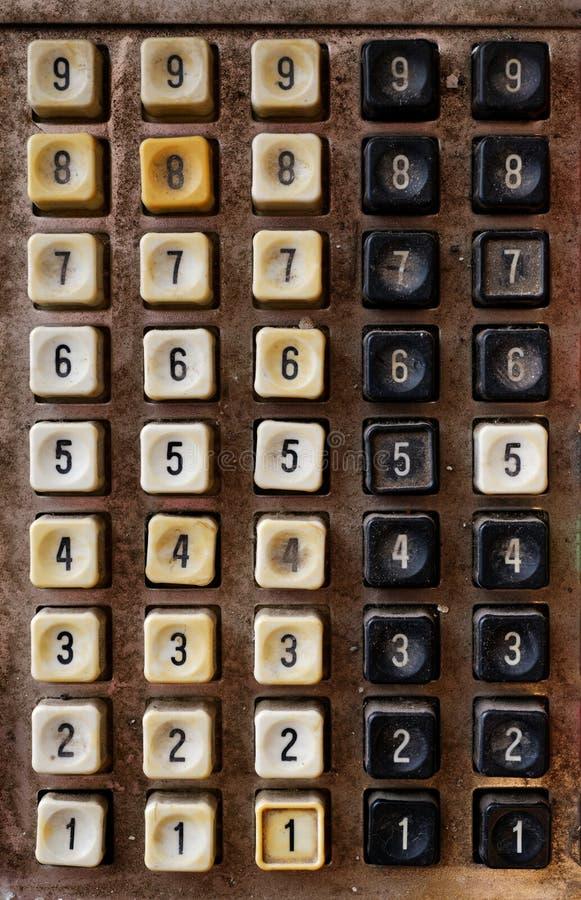 Teclado numérico muy viejo imagen de archivo