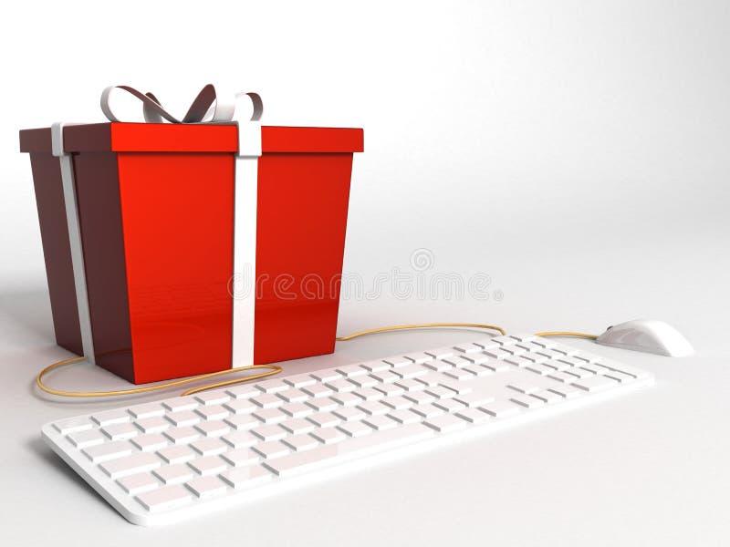 Teclado, ratón y regalo rojo envuelto libre illustration