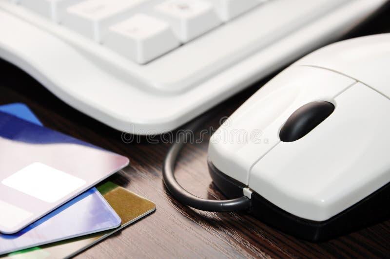Teclado, rato, cartão de crédito fotos de stock