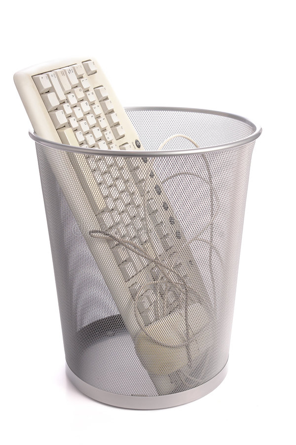Teclado viejo de la PC imagen de archivo