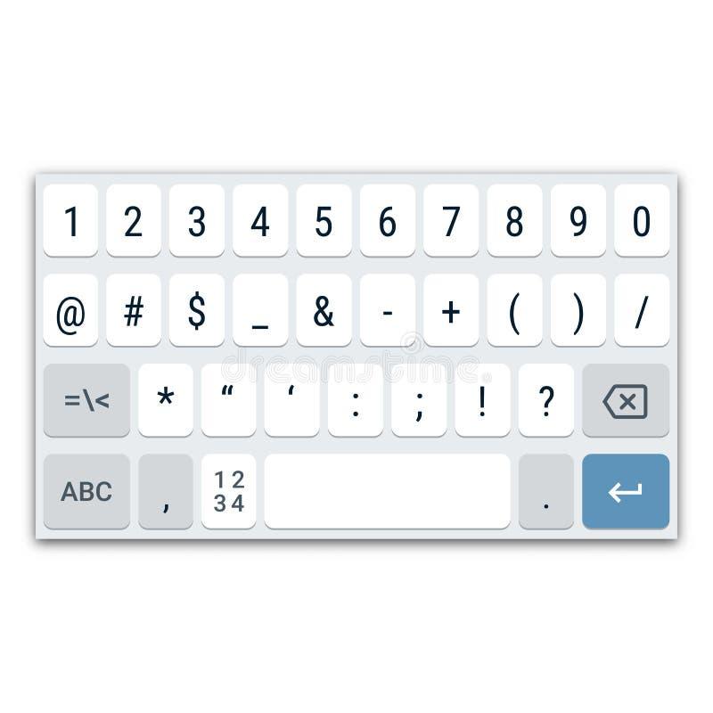 Teclado virtual para el smartphone con la disposición QWERTY, los dígitos y los caracteres especiales libre illustration