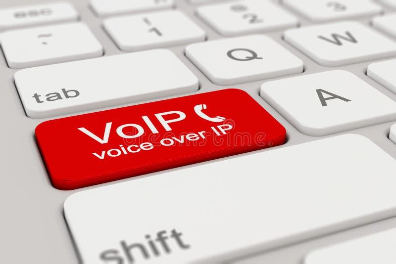 Teclado - voz sobre o IP - vermelho fotos de stock