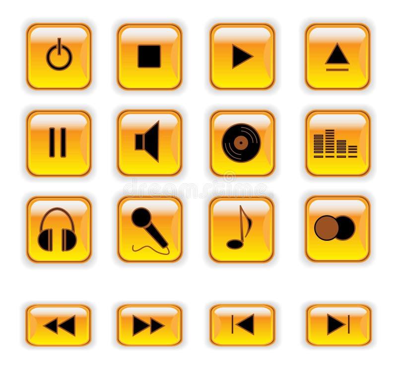 Teclas alaranjadas do controle da música ilustração stock