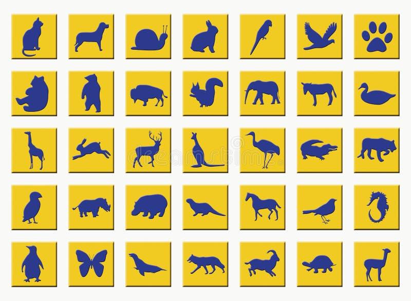 Teclas amarelas com animais ilustração royalty free