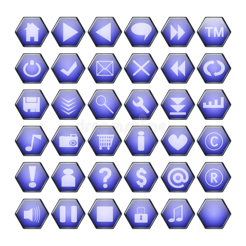 Teclas azuis do Web ilustração stock