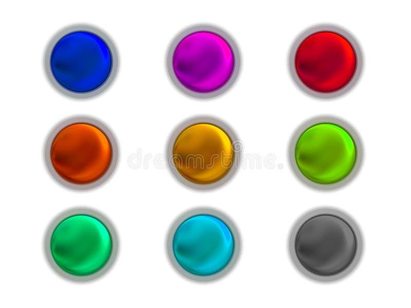 Teclas coloridas ajustadas ilustração stock