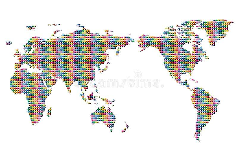 Teclas coloridas do mapa de mundo ilustração do vetor
