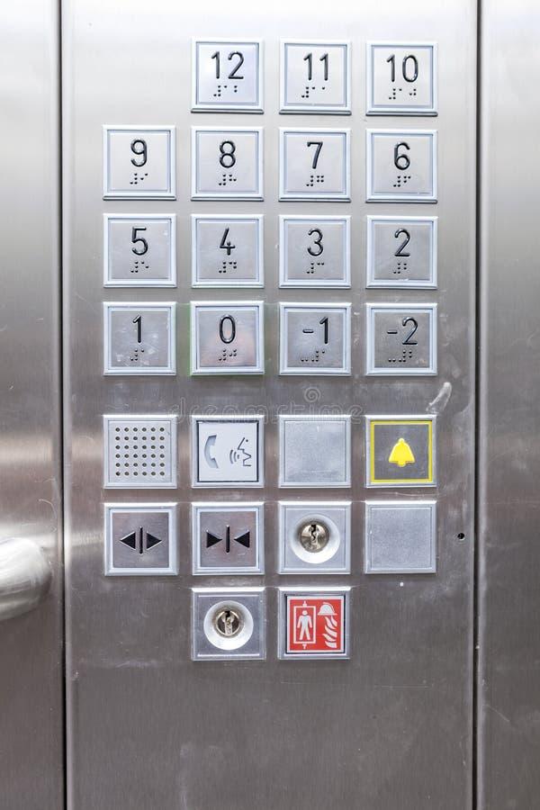 Teclas de um elevador foto de stock royalty free