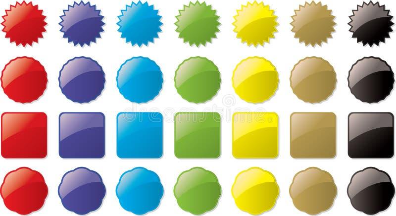 Teclas de vidro coloridas ilustração stock