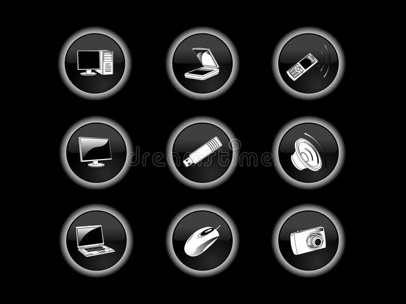 Teclas do ícone da tecnologia ilustração royalty free