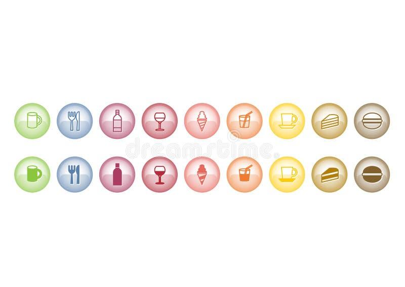 Teclas do ícone do alimento ilustração royalty free