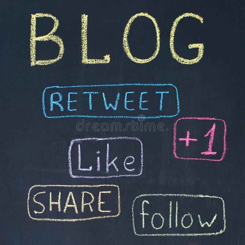 Teclas do blogue e da parte fotos de stock