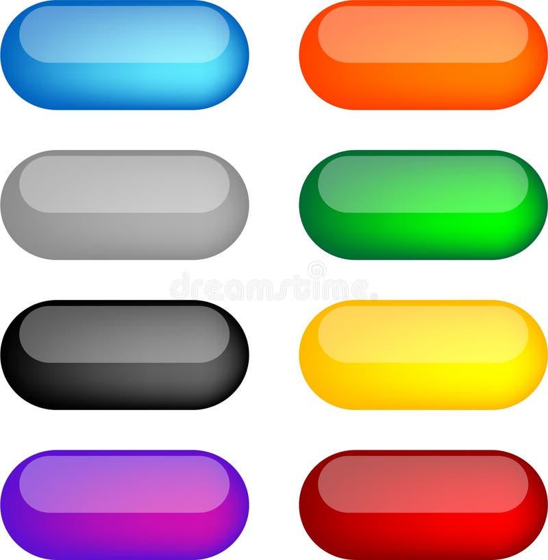 Teclas do espaço em branco do gel do arco-íris ilustração do vetor