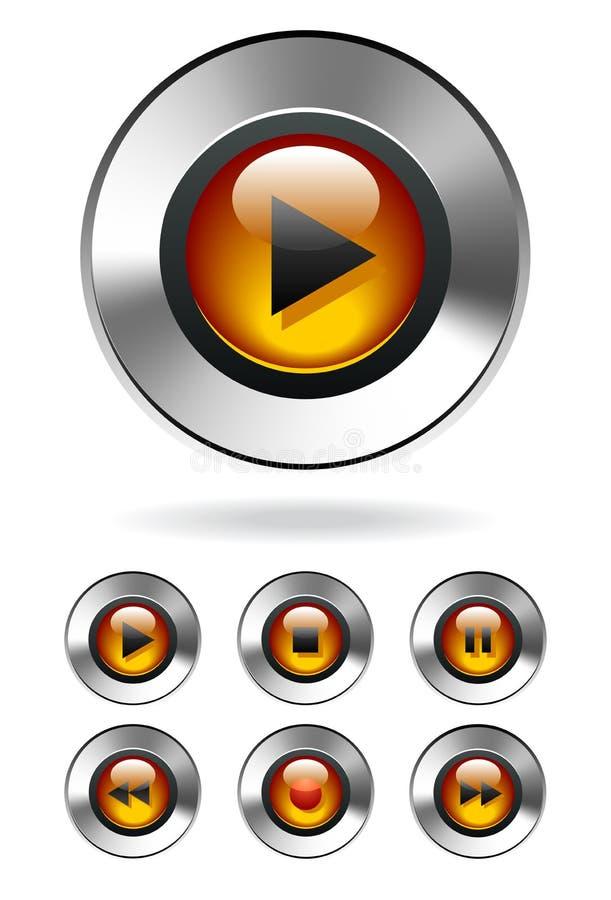 Teclas do MP3 Media Player ilustração royalty free