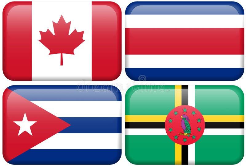 Teclas do NA: Canadá, Costa-Rica, Cuba, Dominica ilustração do vetor
