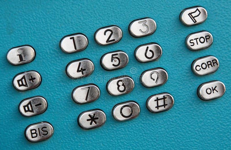 Teclas do seletor do teclado do telefone público imagens de stock