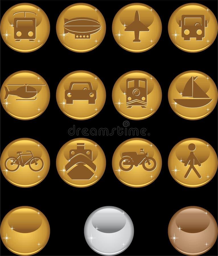 Teclas do transporte - ouro redondo ilustração do vetor