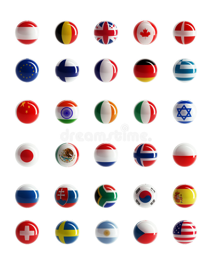 Teclas do Web das bandeiras de país ilustração do vetor