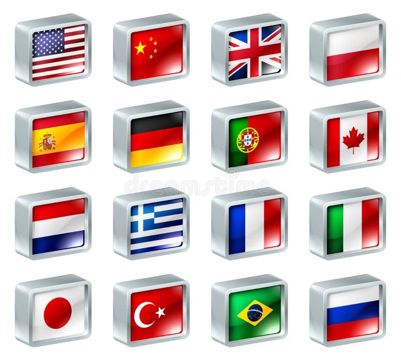 Teclas dos ícones da bandeira ilustração royalty free