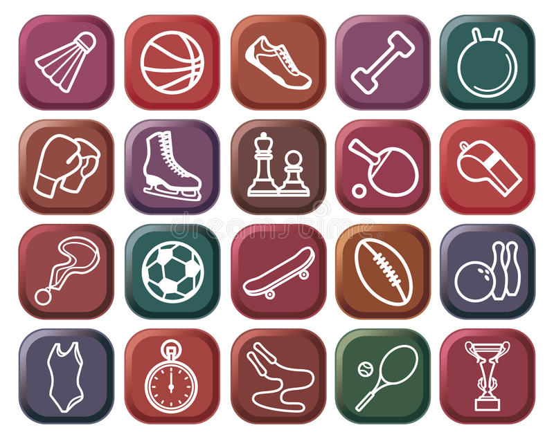 Teclas dos esportes ilustração do vetor
