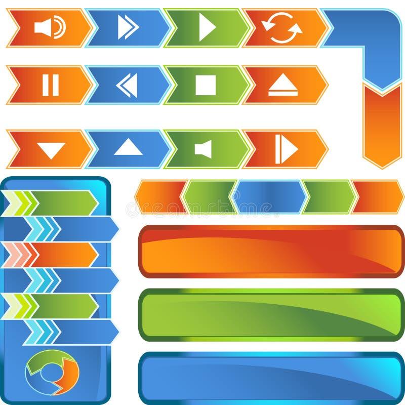 Teclas dos multimédios - estilo da seta ilustração do vetor