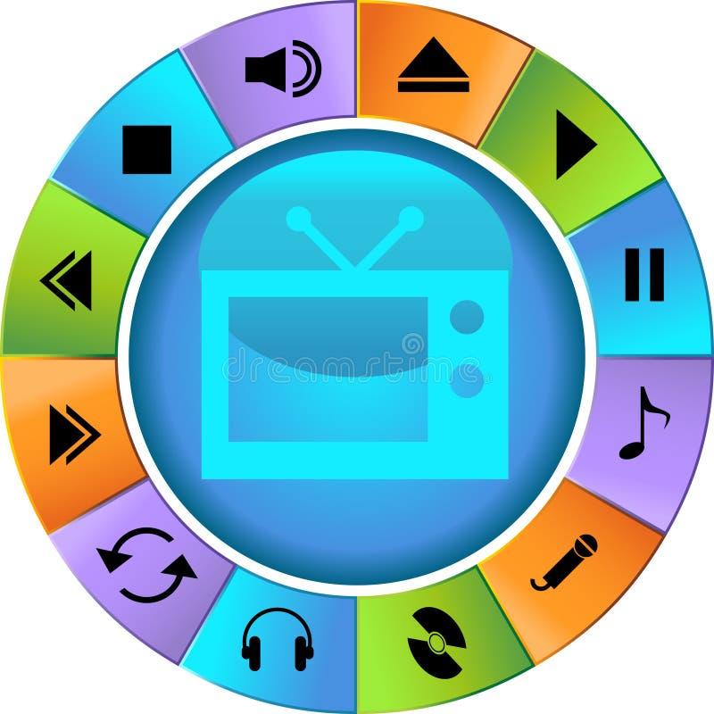 Teclas dos multimédios - roda ilustração do vetor