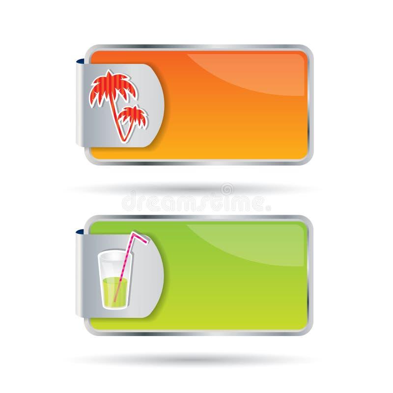Teclas Editable com ícones e cores do verão ilustração do vetor