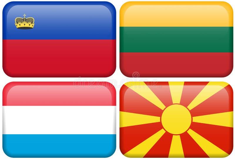 Teclas européias da bandeira: LIC, ILUMINADO, NL, MAC ilustração royalty free