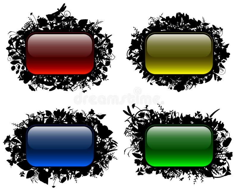 Teclas Glassy em frames florais (ajuste 2) ilustração stock