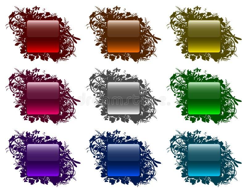 Teclas Glassy em frames florais (ajuste 3) ilustração do vetor