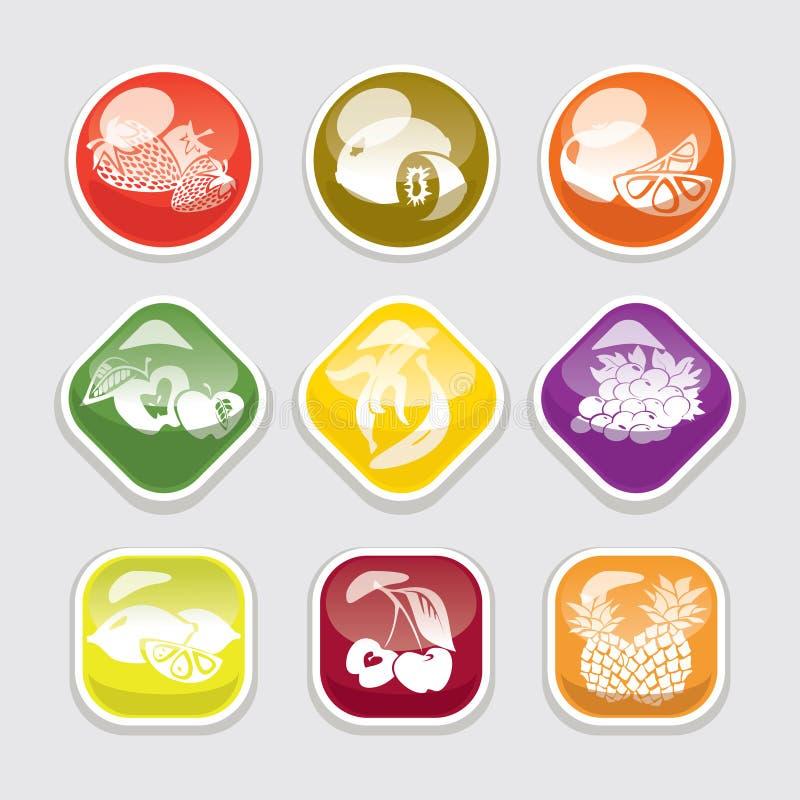 Teclas lustrosas da fruta ilustração stock